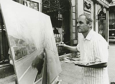 Antonio Lopez pintando en la Gran Vía de Madrid