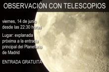 Observación con telescopios Planetario Madrid