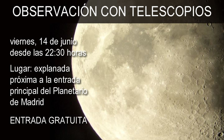Jornadas gratuitas de Observación con telescopios en el Planetario de Madrid