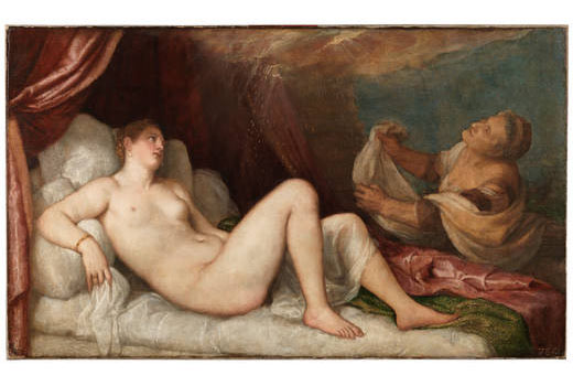 Dánae, Tiziano, Oleo sobre lienzo, 192, 5 x 114, 6 cm, The Wellington Collection, Apsley House