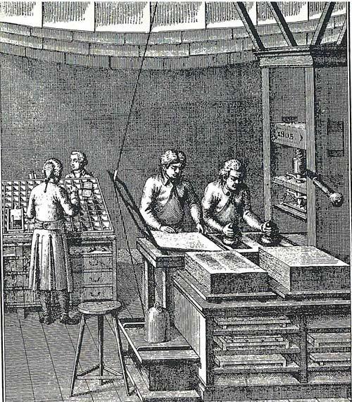 Taller de imprenta de finales del siglo XVII. Col. RAA.