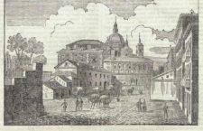 Vista de la costanilla de San Andrés, en su ensanche de la plaza de la Paja. Dibujo de José María Abrial
