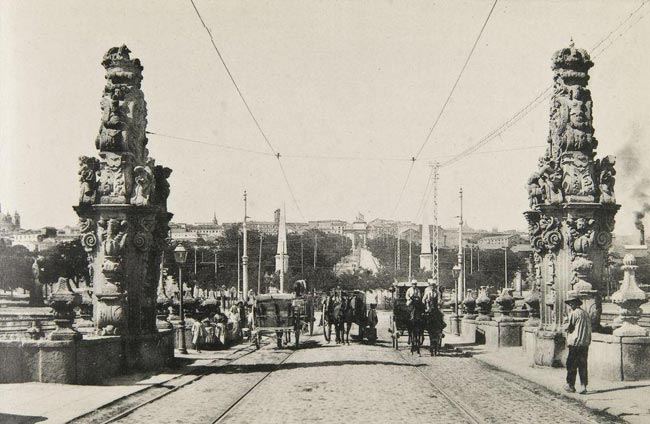 Coche caballos puente Toledo 1901