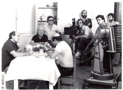 """Berlanga con parte del equipo de """"Patrimonio Nacional"""". Fotografía: Academia de las Artes y las Ciencias Cinematográficas."""