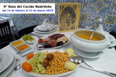9ª Ruta del Cocido Madrileño, del 14 de febrero al 31 de marzo 2019